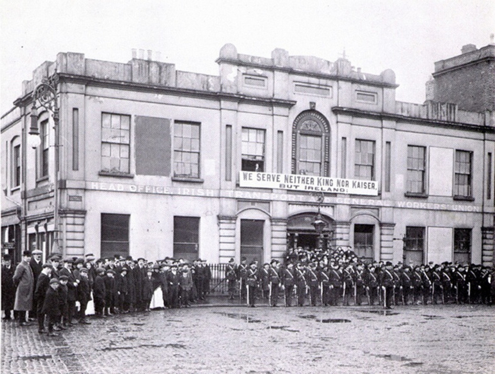 Some people of the Rising standing outside Liberty Hall