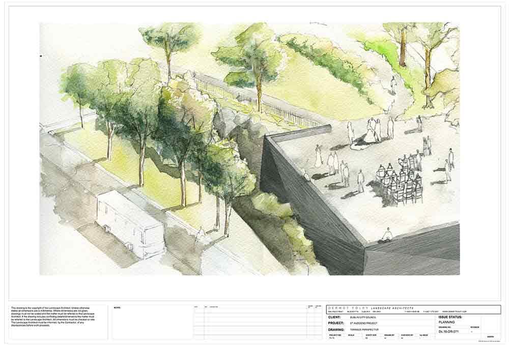sketch of proposed platform at Saint Audoen's Park Dublin