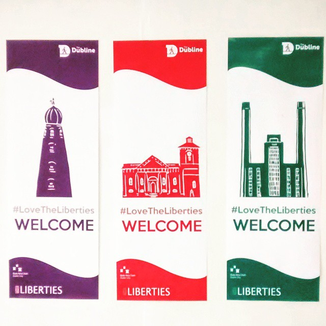 Colourful banners to welcome people to The Liberties in Dublin