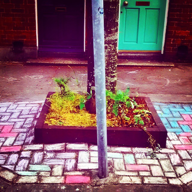 Chalk design on the pavement on Gray Street