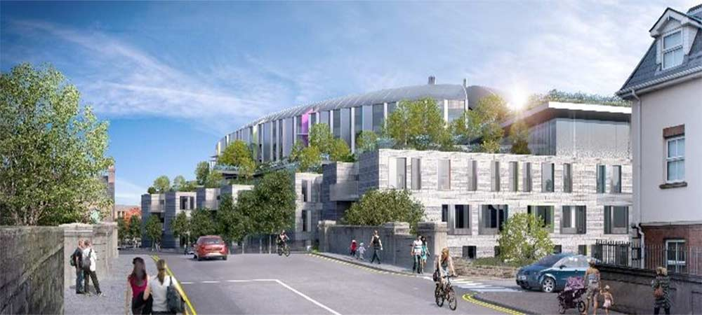One element of the proposed new Children's Hospital as planning application launched. A healthcare tech cluster is also planned at the hospital