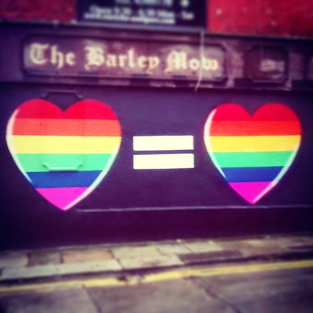 Love hearts for marriage referendum painted on a wall in The Liberties
