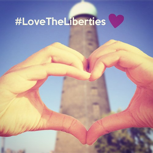 Two hands symbolise Love The Liberties