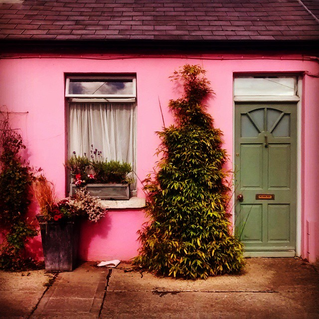 Colourful tiny old cottage in The Liberties Dublin