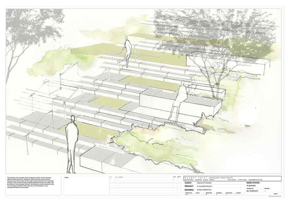 sketch of proposed steps at Saint Audoen's Park Dublin